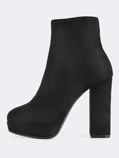 Faux Suede Platform Square Heel Boots BLACK