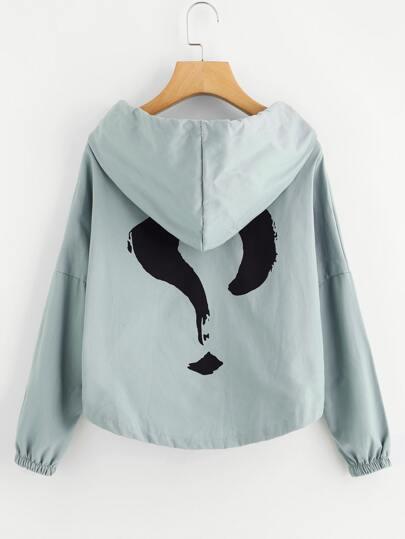 Question Mark Print Back Drop Shoulder Hooded Jacket