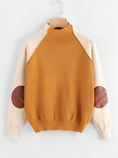 High Neck Contrast Raglan Sleeve Patch Sweater