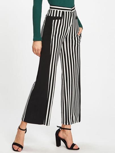 Pantalons contrasté à rayures
