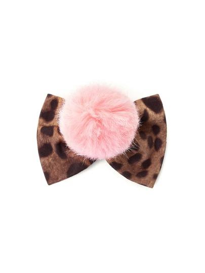 Pom Pom Bow Leopard Hair Clip