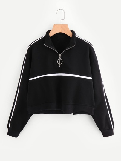 Zip Front Tape Detail Crop Sweatshirt