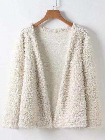 Faux Fur Fuzzy Open Front Coat