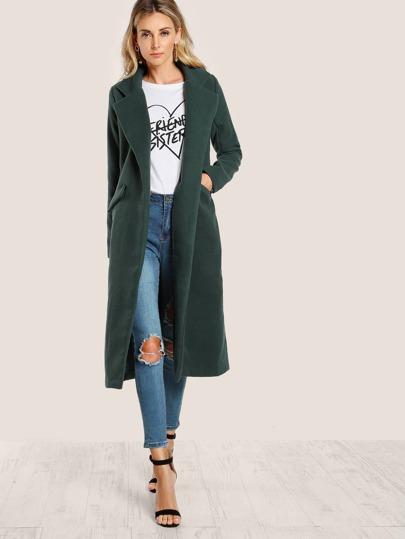 Long Sleeve Floor Length Trench Coat GREEN