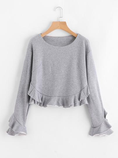 Sweat-shirt à étages avec des plis