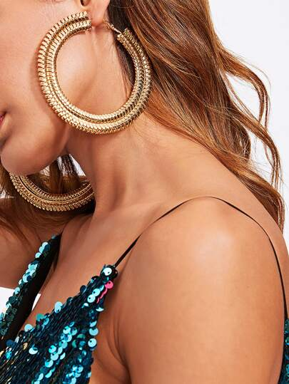 Exaggerated Big Circle Hoop Earrings