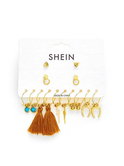 Tassel & Turquoise Decorated Earring Set