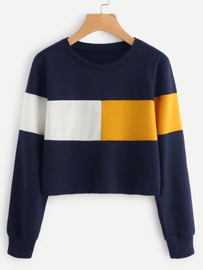 Sweat-shirt court bicolore