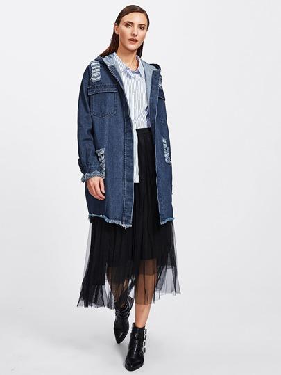 Jeans Mantel mit ausgefranstem Saum und Rissen