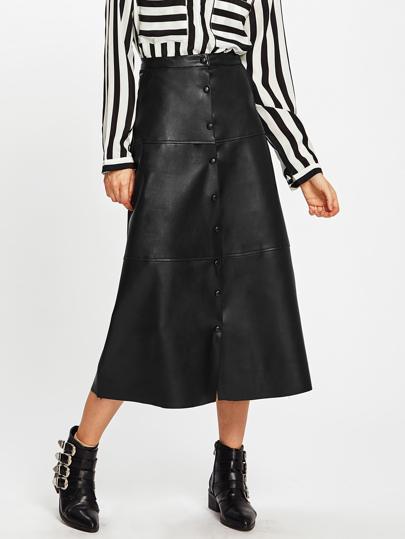 Falda midi PU con botones