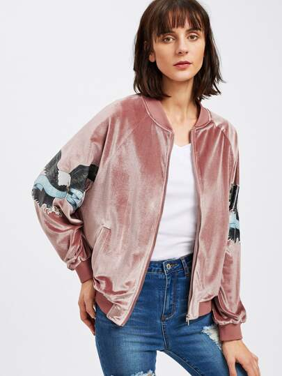 Eagle Patch Sleeve Zip Up  Velvet Jacket