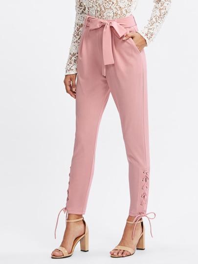 Модные брюки со шнуровкой и поясом