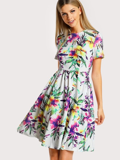 Botanical Print Fit & Flare Dress