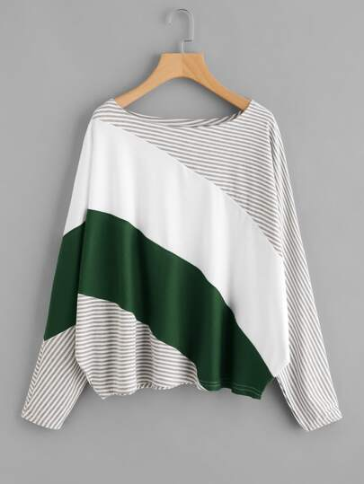 Cut And Sew Striped Panel Batwing Tee