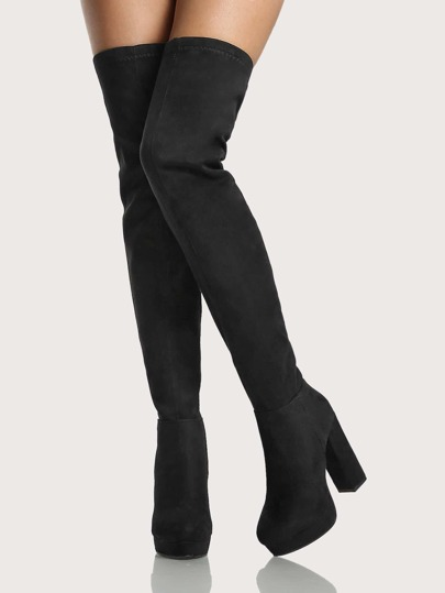 Faux Suede Platform Square Heel Thigh High Boots BLACK