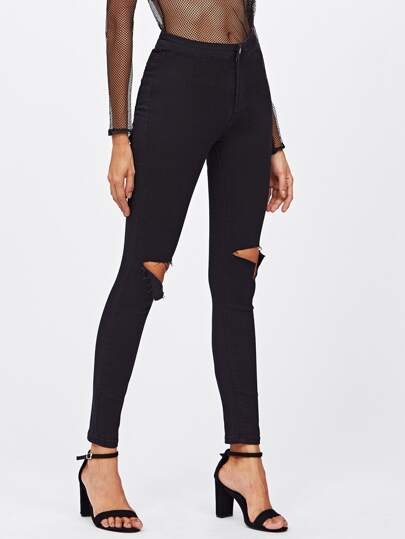 Ripped Knee Skinny Ankle Jeans