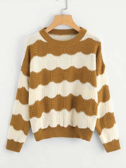 Contrast Striped Cable Knit Jumper