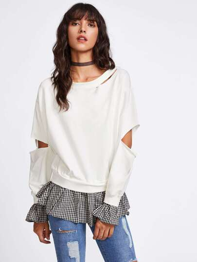 Cut Out Contrast Checked Frill Hem Sweatshirt
