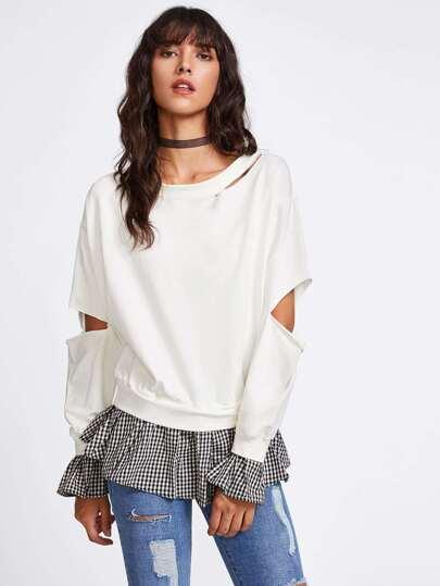 Sweat-shirt avec pan à volants bicolore
