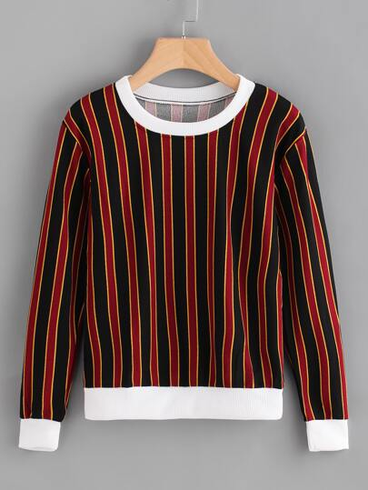 Contrast Trim Vertical Striped Pullover