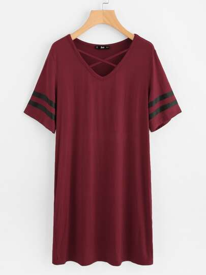 Crisscross Neck Striped Sleeve Nightdress