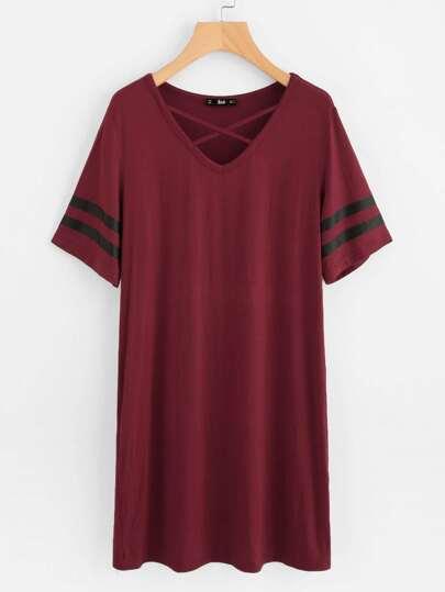 Crisscross Neck Striped Sleeve Nightdress