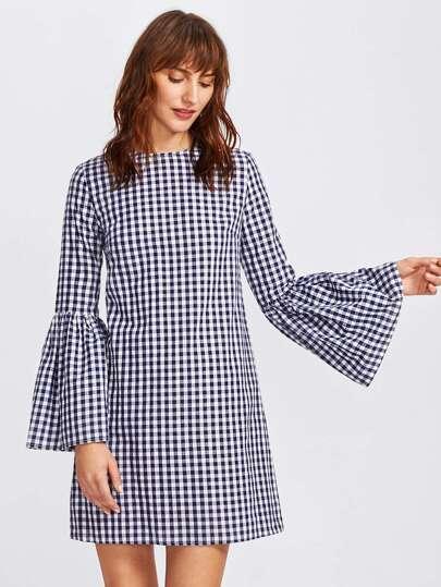 Модное клетчатое платье, рукав клёш