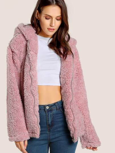 Faux Fur Zip Up Jacket BLUSH