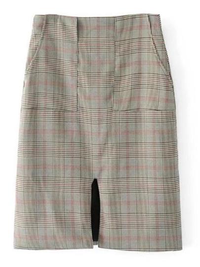 Falda de cuadros de cintura alta con abertura