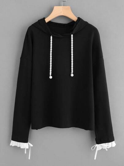 Contrast Pleated Cuff Pearl Drawstring Hoodie