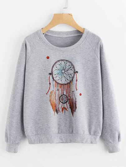 Graphic Print Raglan Sleeve Sweatshirt