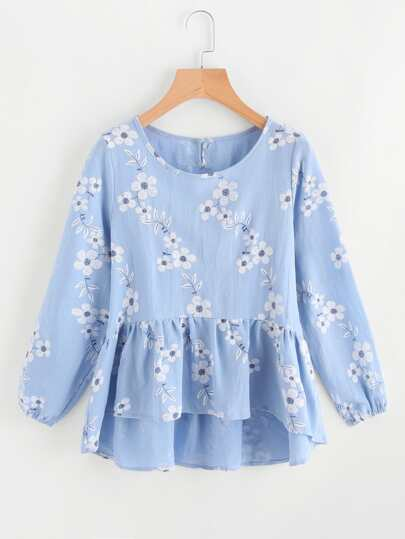 All Over Florals Frill Hem Blouse