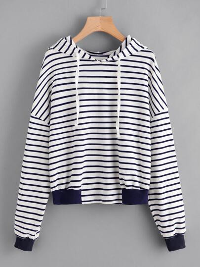 Contrast Trim Drop Shoulder Striped Hoodie