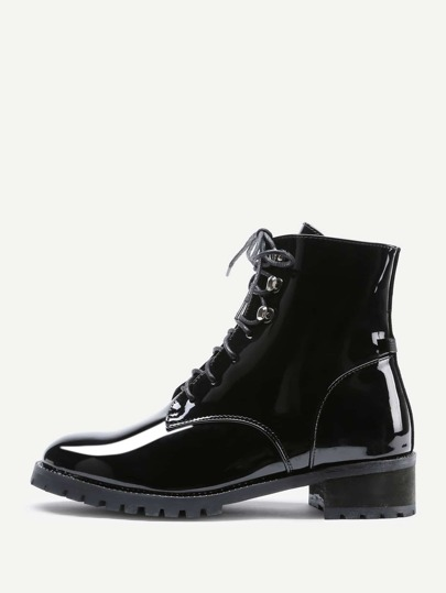 Lace Up Patent Leather Ankle Boots