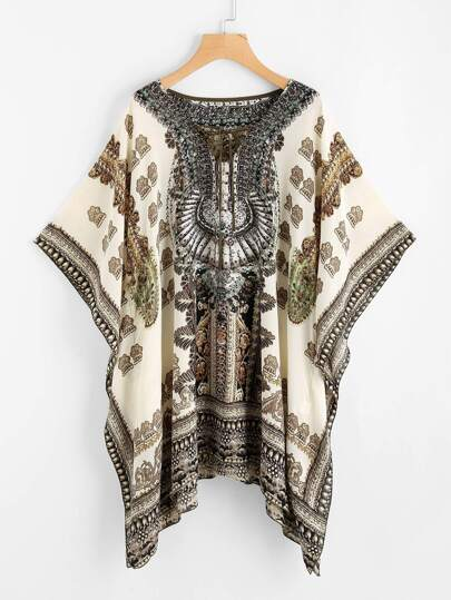 Tribal Print Batwing Sleeve Lace Up Front Blouse