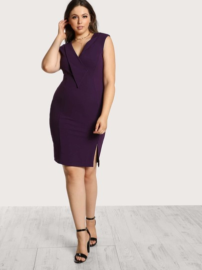 Sleeveless Knee Length Dress EGGPLANT