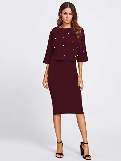 Pearl Embellished Front Top & Pencil Skirt Set