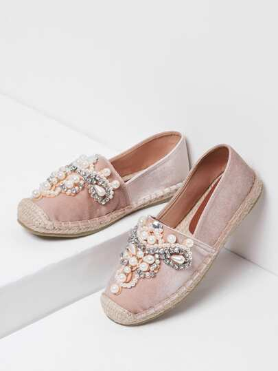 Jewelry Decorated Cap Toe Espadrille Flats