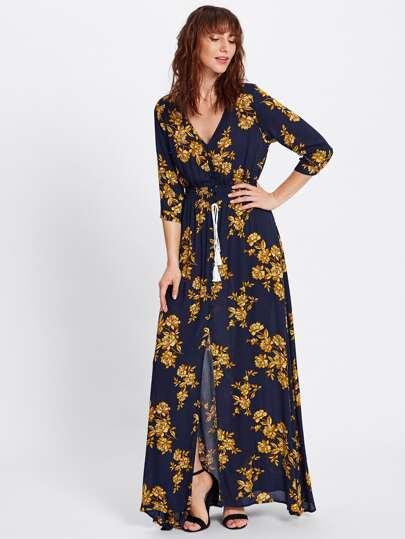 Tassel Tie Shirred Waist Floral Dress