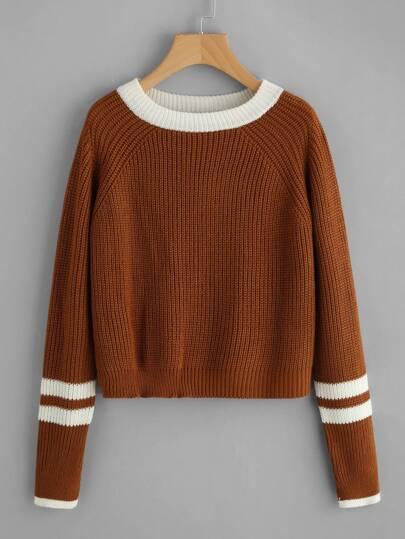 Suéter de cable ribete en contraste de rayas