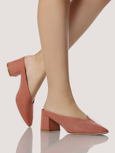 Exposed Back Slip On Heels DUSTY BLUSH