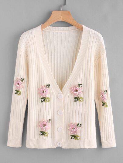 Cappotto con applique floreale