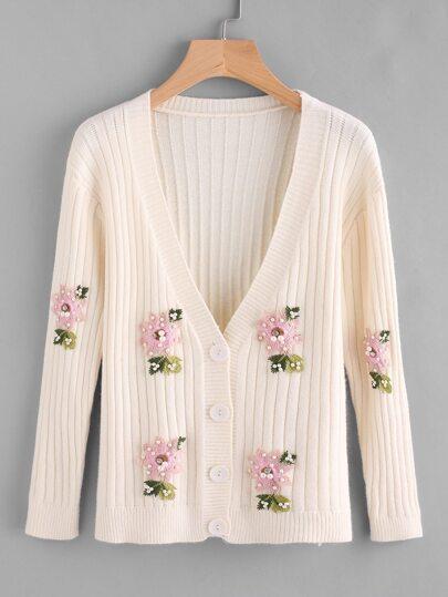 Pearl Embellished Floral Applique Sweater Coat