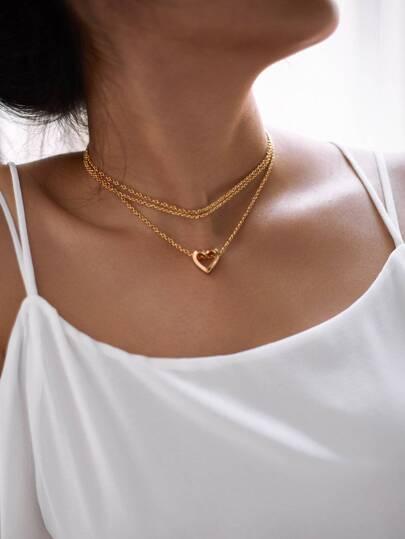 Hollow Heart Pendant Layered Chain Necklace