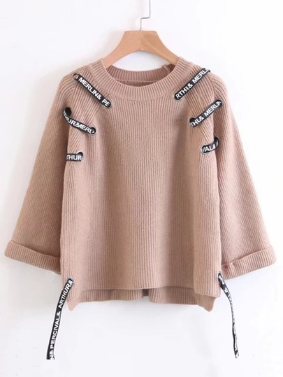 Slogan Strap Raglan Sleeve Ribbed Knitwear