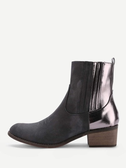 Metallic Panel Ankle Boots