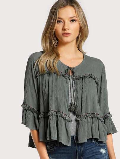 Front Tie Tassel Top GREEN