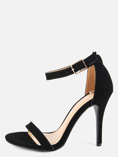 Single Sole Open Toe Heels BLACK