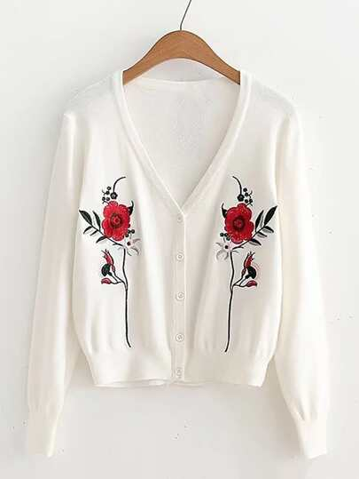 Embroidered Flower Button Up Cardigan