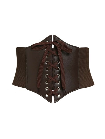 Lace Up Faux Leather Corset Belt